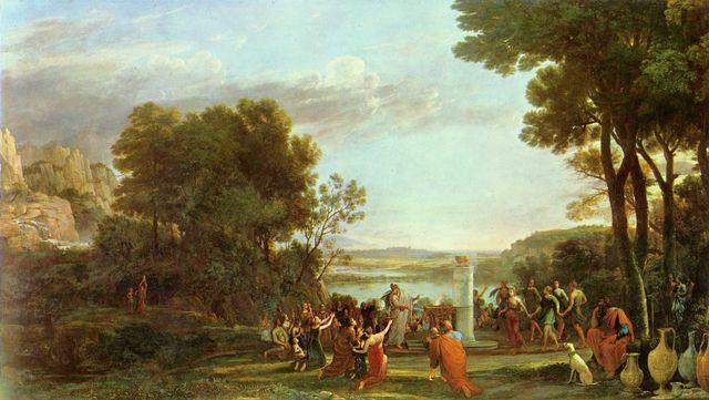 Landschaftsmalerei barock  Landschaft mit der Anbetung des goldenen Kalbes von Claude Lorrain