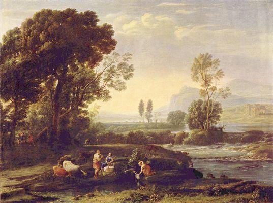Landschaftsmalerei barock  Landschaft mit der Flucht nach Ägypten von Claude Lorrain