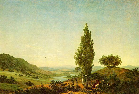 Landschaftsmalerei romantik friedrich  Der Sommer (Landschaft mit Liebespaar) von Caspar David Friedrich