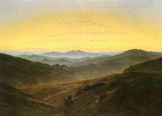 Landschaftsmalerei romantik friedrich  Landschaft im Charakter des böhmischen Mittelgirges (Riesengebirge ...