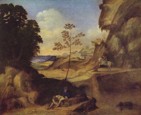 Landschaftsmalerei renaissance  Landschaft mit Sonnenuntergang von Giorgione