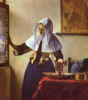 Genremalerei vermeer  Junge Frau mit einem Wasserkrug am Fenster von Jan Vermeer van Delft