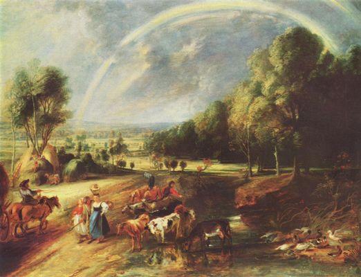 Landschaftsmalerei barock  Landschaft mit dem Regenbogen von Peter Paul Rubens